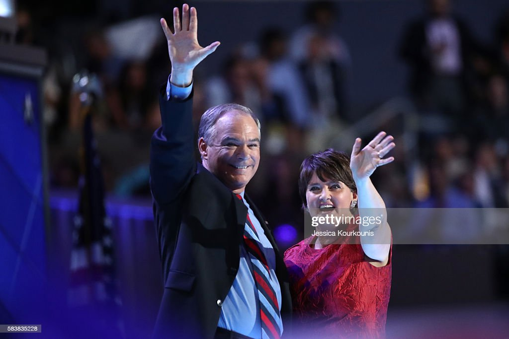 Vice President nominee Tim Kaine along with his wife Anne Holton wave to the crowd after delivering remarks on the third day of the Democratic...
