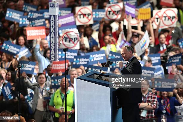 Vice President nominee Tim Kaine delivers remarks on the third day of the Democratic National Convention at the Wells Fargo Center July 27 2016 in...