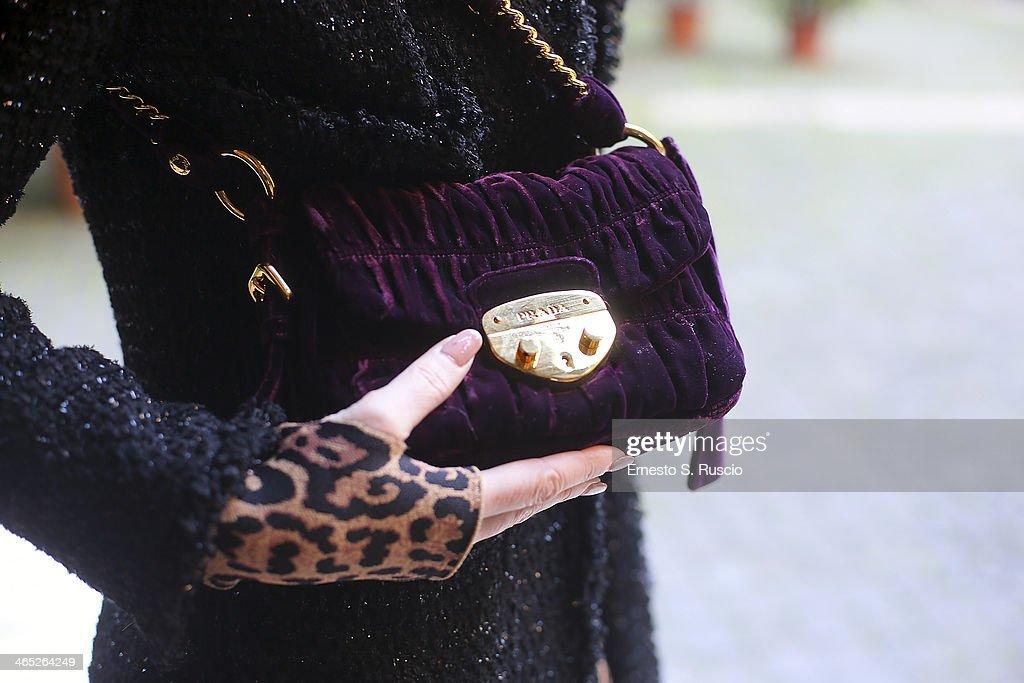 Vice President of AltaRoma Valeria Mangani wears Prada bag, Prada shoes and St. John coat on day 3 Rome Fashion Week Spring/Summer 2014, on January 26, 2014 in Rome, Italy.