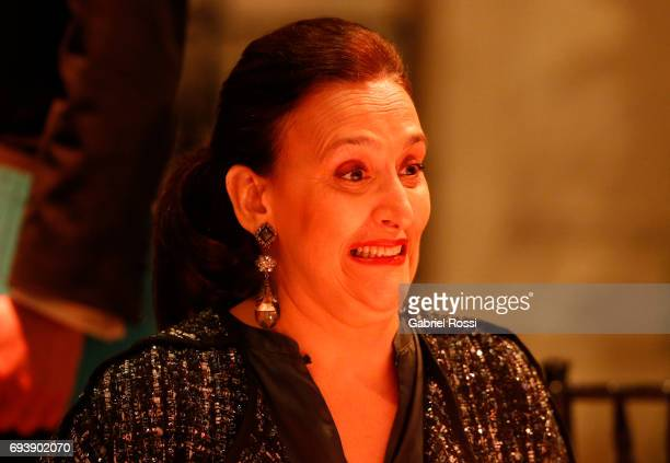 Vice President of Argentina Gabriela Michetti gestures during a state dinner as part of an official visit of German Chancellor Angela Merkel to...