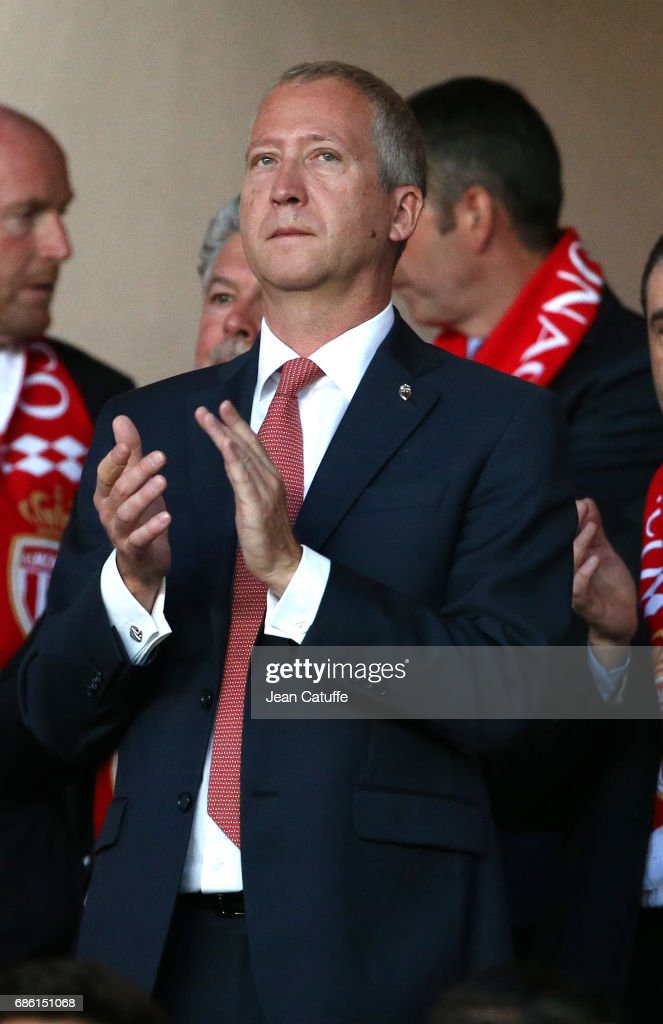 Vice President of AS Monaco Vadim Vasilyev attends the French Ligue 1 match between AS Monaco and AS Saint-Etienne (ASSE) at Stade Louis II on May 17, 2017 in Monaco, Monaco.