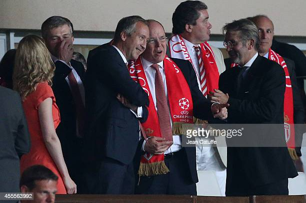 Vice president of AS Monaco Vadim Vasyliev and Prince Albert II of Monaco celebrate Monaco's victory after the UEFA Champions League Group C match...