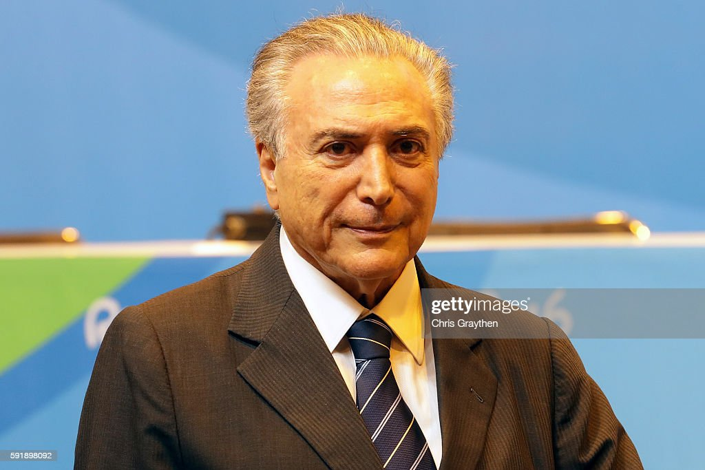 Vice President of Brazil Michel Temer speaks to the media at the Main Press Centre on Day 13 of the Rio 2016 Olympic games on August 18, 2016 in Rio de Janeiro, Brazil.