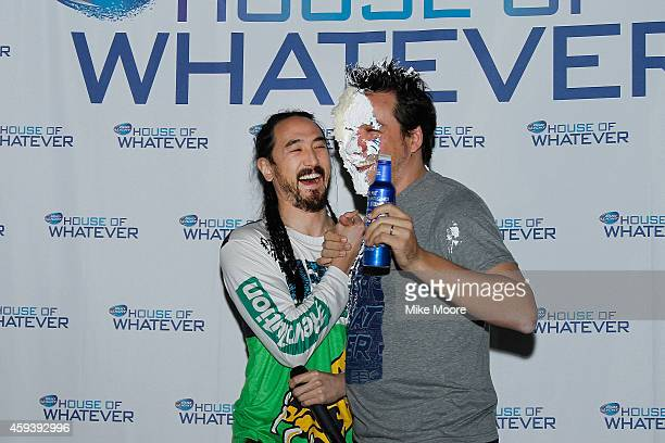 Vice President of Bud Light Alex Lambrecht has cake smashed into his face by Grammy Awardnominated DJ Steve Aoki during the Bud Light House Of...