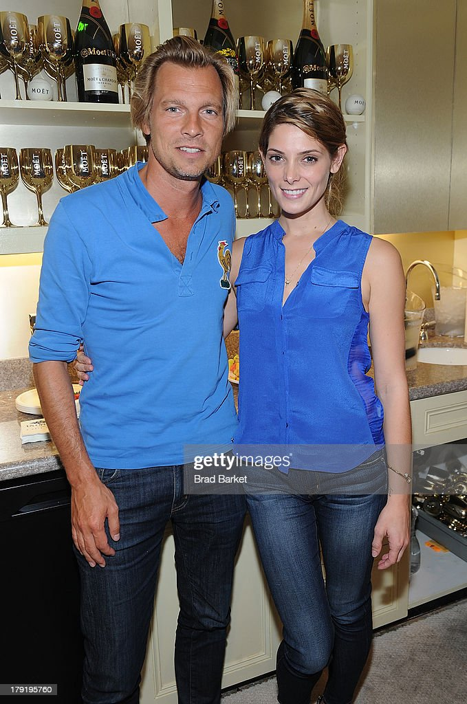 U.S. Vice President of Champagne maker Moet & Chandon Ludovic du Plessis(L) and Ashley Greene attend the Moet & Chandon Suite at USTA Billie Jean King National Tennis Center on August 31, 2013 in New York City.