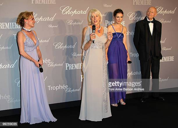 Vice President of Chopard Caroline GruosiScheufele Dame Helen Mirren guest and Cannes Film Festival President Gilles Jacob attends The Chopard Trophy...