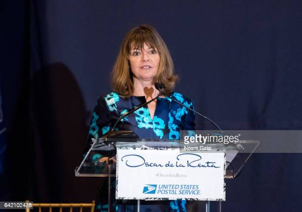 Vice President of Corporate Communications at USPS Janice D Walker attends the Oscar de la Renta Forever Stamp dedication ceremony at Grand Central...