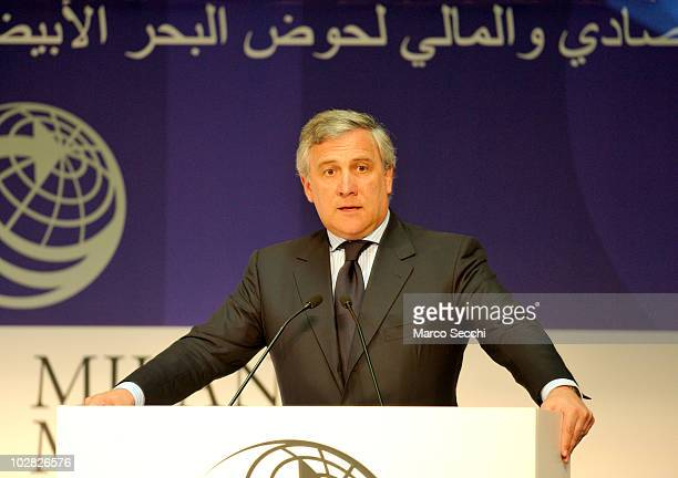 Vice President of European Commission Antonio Tajani at the opening session of the Med Forum 2010 on July 12 2010 in Milan Italy The Milano Med Forum...