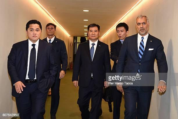 Vice President of FC Internazionale Javier Zanetti Chairman of Suning holdings group Zhang Jindong FC Internazionale President Erick Thohir CEO...