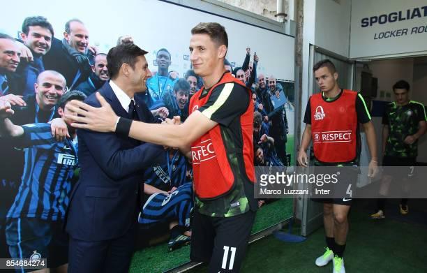Vice President of FC Internazionale Javier Zanetti greets Andrea Pinamonti of FC Internazionale before the UEFA Youth League Domestic Champions Path...