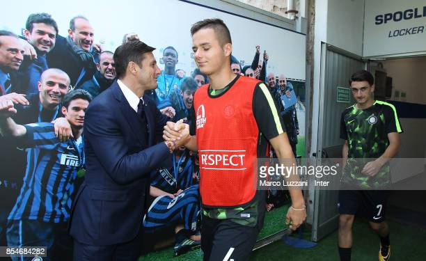 Vice President of FC Internazionale Javier Zanetti greets Zinho Vanheusden of FC Internazionale before the UEFA Youth League Domestic Champions Path...