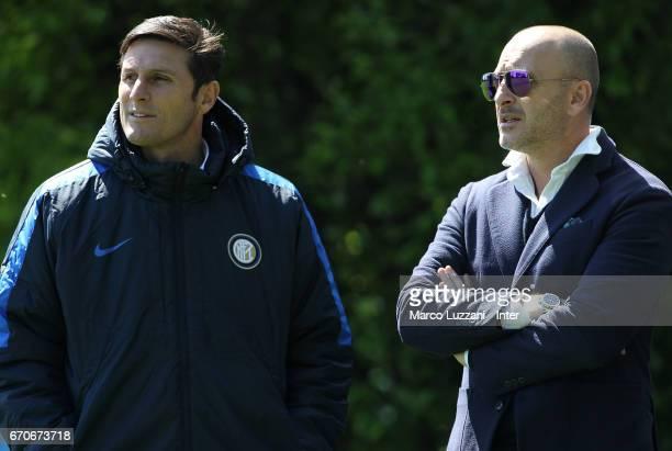 Vice President of FC Internazionale Milano Javier Zanetti and Sportif Director of FC Internazionale Milano Piero Ausilio look on during the FC...