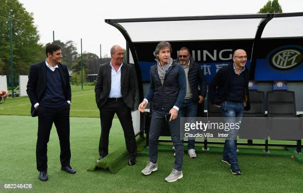 Vice President of FC Internazionale Milano Javier Zanetti Head coach Italy Gian Piero Ventura Team Manager Italy Gabriele Oriali and Sporting...