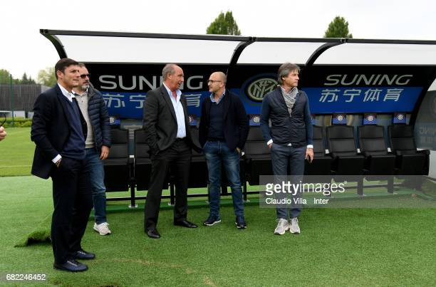 Vice President of FC Internazionale Milano Javier Zanetti Head coach Italy Gian Piero Ventura Sporting Director FC Internazionale Piero Ausilio and...