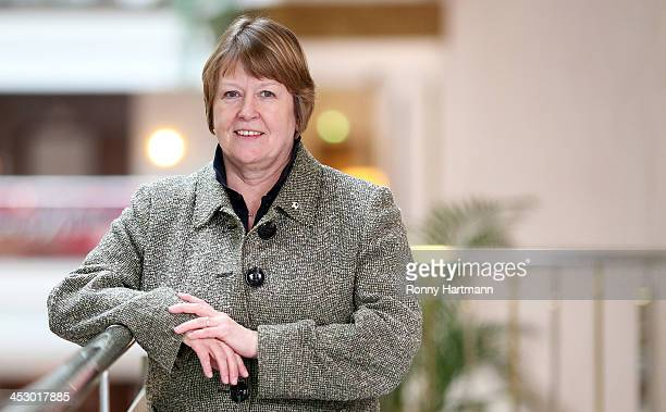 Vice president of German Football Association Hannelore Ratzeburg poses after the DFB Women's Indoor Trophy Draw Ceremony on December 02 2013 in...