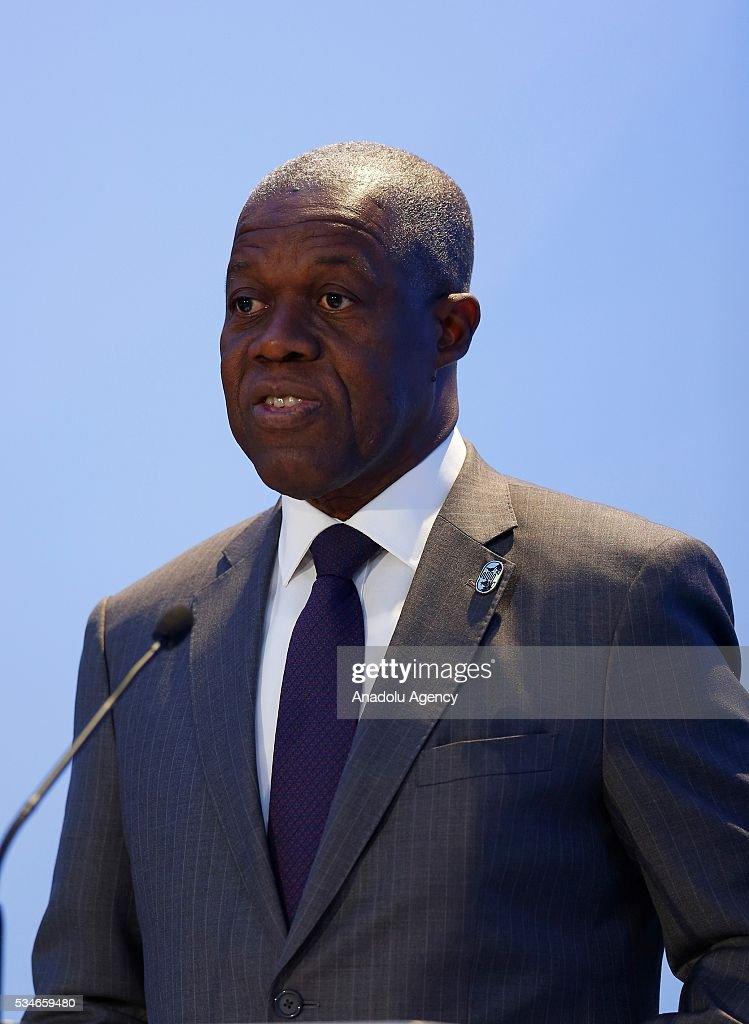 Vice President of Ghana, Amissah Arthur Kwesi Bekoe delivers a speech during the Midterm Review of the Istanbul Programme of Action at Titanic Hotel in Antalya, Turkey on May 27, 2016. The Midterm Review conference for the Istanbul Programme of Action for the Least Developed Countries takes place in Antalya, Turkey from 27-29 May 2016. The conference will undertake a comprehensive review of the implementation of the Istanbul Programme of Action by the least developed countries (LDCs) and their development partners and likewise reaffirm the global commitment to address the special needs of the LDCs.