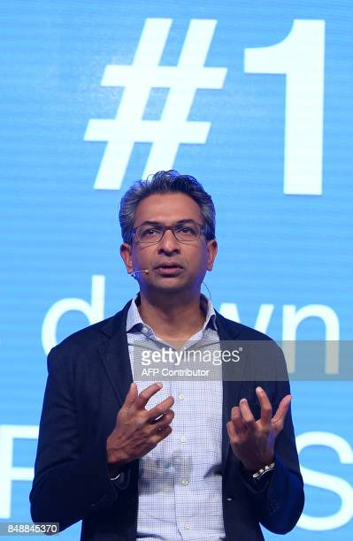 Vice President of Google for South East Asia and India Rajan Anandan speaks during the launch of the Google 'Tez' mobile app for digital payments in...
