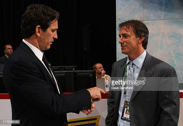 Vice President of Hockey and Business Development for the NHL Brendan Shanahan and Joe Sakic of the Colorado Avalanche during day one of the 2011 NHL...