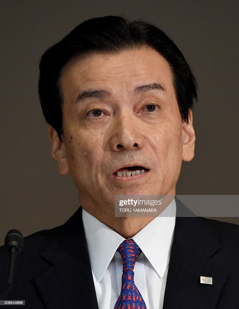Vice President of Japan's Toshiba Corporation Shigenori Shiga answers questions during a press conference at the headquarters in Tokyo on May 6, 2016. Shiga will assume new Toshiba chairman after the shareholders meeting in June. / AFP / TORU