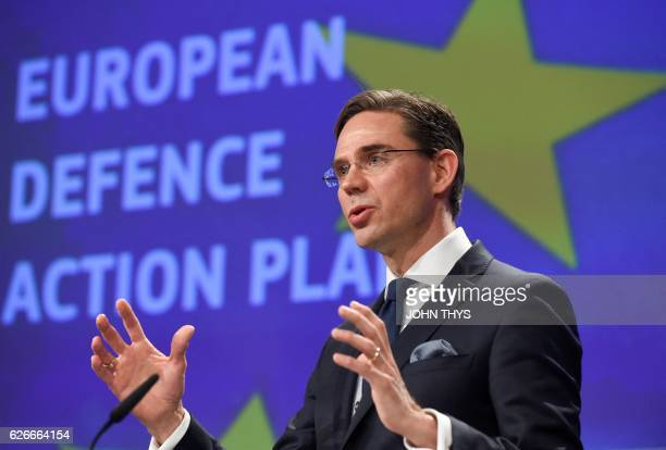 Vice President of Jobs Growth Investment and Competitiveness Jyrki Katainen gives a joint press with High Representative of the Union for Foreign...