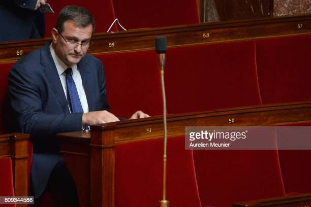 Vice President of Le Front National Louis Aliot arrives to the weekly questions to the government at Assemblee Nationale on July 5 2017 in Paris...