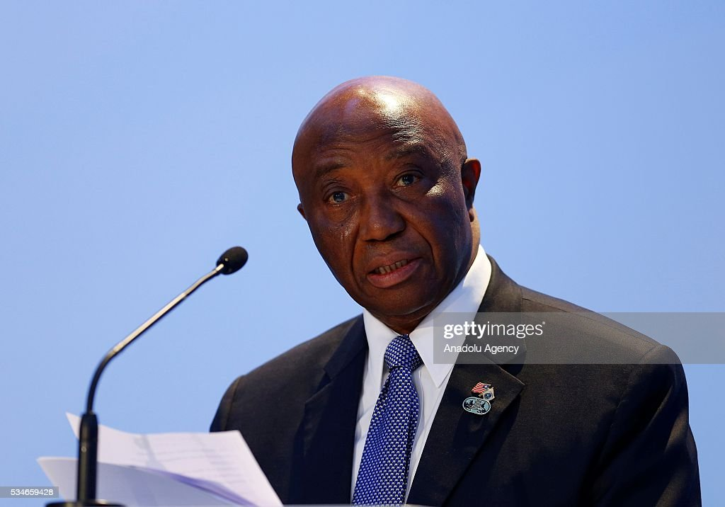 Vice President of Liberia Joseph Boakai delivers a speech during the Midterm Review of the Istanbul Programme of Action at Titanic Hotel in Antalya, Turkey on May 27, 2016. The Midterm Review conference for the Istanbul Programme of Action for the Least Developed Countries takes place in Antalya, Turkey from 27-29 May 2016. The conference will undertake a comprehensive review of the implementation of the Istanbul Programme of Action by the least developed countries (LDCs) and their development partners and likewise reaffirm the global commitment to address the special needs of the LDCs.