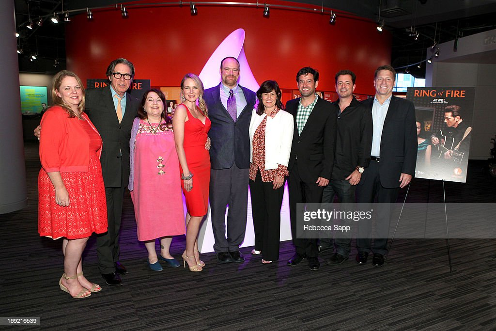 Vice President of Lifetime Movies Lisa Hamilton-Daly, actor John Doe, director Allison Anders, singer Jewel, writer John Carter Cash, Senior Vice President of Original Movies for Lifetime Tanya Lopez, Executive Vice President of Lifetime Television Robert Sharenow, Executive producer/CEO Asylum Steve Michaels and Executive producer/COO Asylum Jonathan Koch at Reel to Reel: Ring of Fire with Jewel at The GRAMMY Museum on May 21, 2013 in Los Angeles, California.