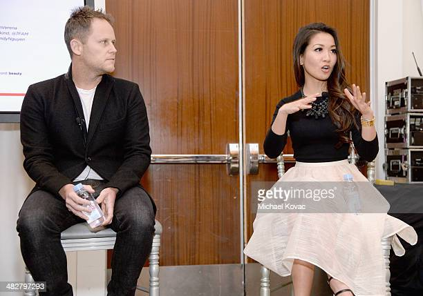 Vice President of Marketing for 7 For All Mankind Andy Griffiths and Wendy Nguyen of Wendy's Lookbook speak onstage during Lucky FABB Fashion and...
