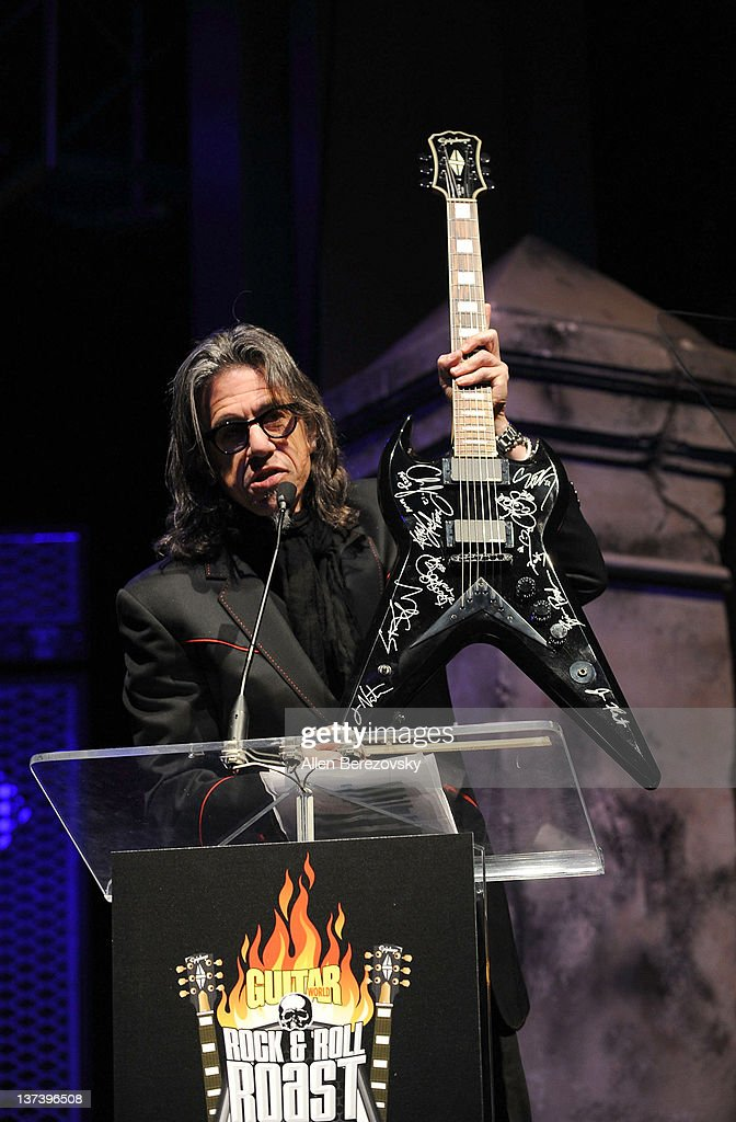 Vice president of MusiCares Scott Goldman speaks on stage at the Guitar World's Rock & Roll roast of Zakk Wylde at City National Grove of Anaheim on January 19, 2012 in Anaheim, California.