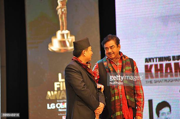Vice President of Nepal Nanda Kishor Pun congratulate Bollywood actor Shatrughan Sinha during relaese of his autobiography titled quotAnything but...