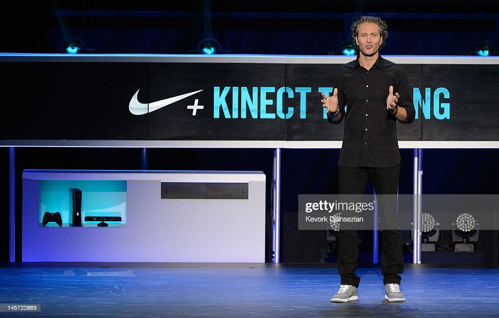 Vice President of Nike Digital Sports Stefan Olander announces the new Nike+ Kinect Training for home training during the Microsoft Xbox press conference at the Electronic Entertainment Expo at the Galen Center on June 4, 2012 in Los Angeles,Thousands are expected to attend the annual three-day convention to see the latest games and announcements from the gaming industry.