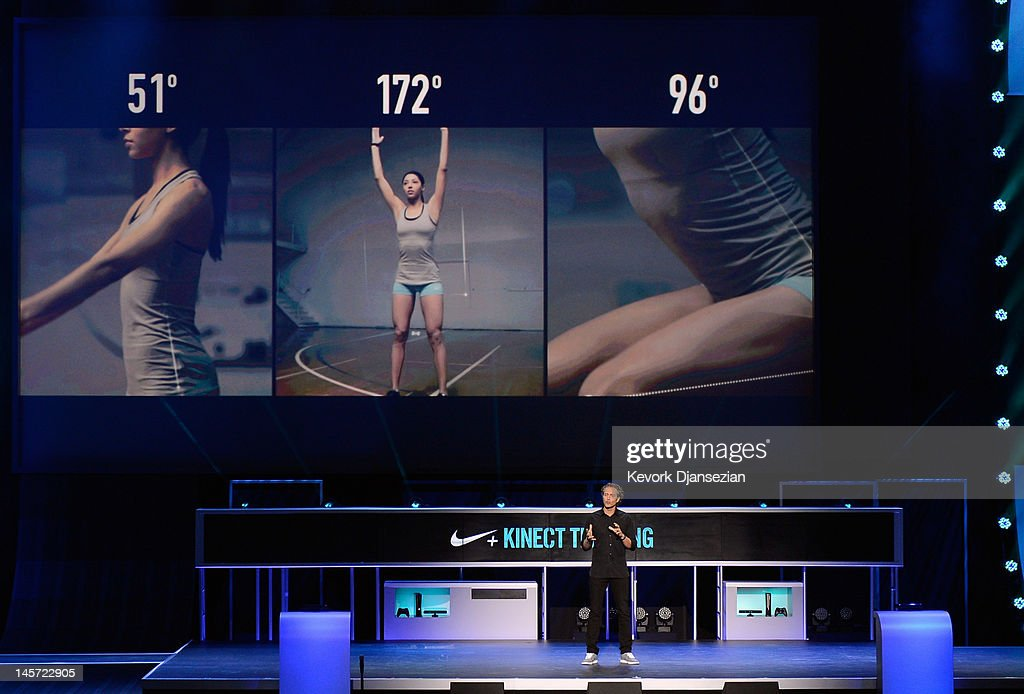 Vice President of Nike Digital Sports Stefan Olander announces the new Nike+ Kinect Training for home training during the Microsoft Xbox press conference at the Electronic Entertainment Expo at the Galen Center on June 4, 2012 in Los Angeles, California. Thousands are expected to attend the annual three-day convention to see the latest games and announcements from the gaming industry.