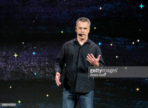 Vice president of PR and marketing for Bethesda Softworks LLC Pete Hines speaks on stage as the company shows off its new video game experiences at...