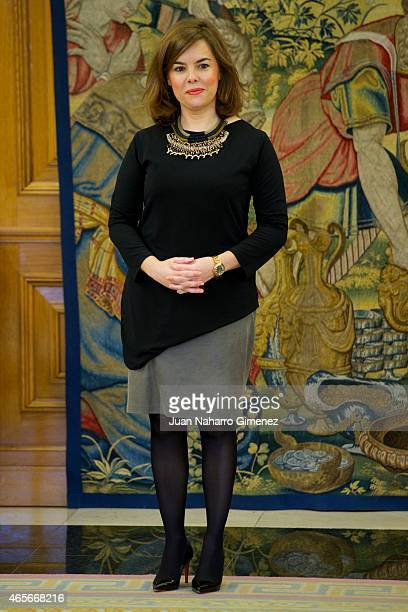 Vice President of Spain Soraya Saenz de Santamaria attends delivery of the National Award Sociology and Political Science 2014 at Zarzuela Palace on...