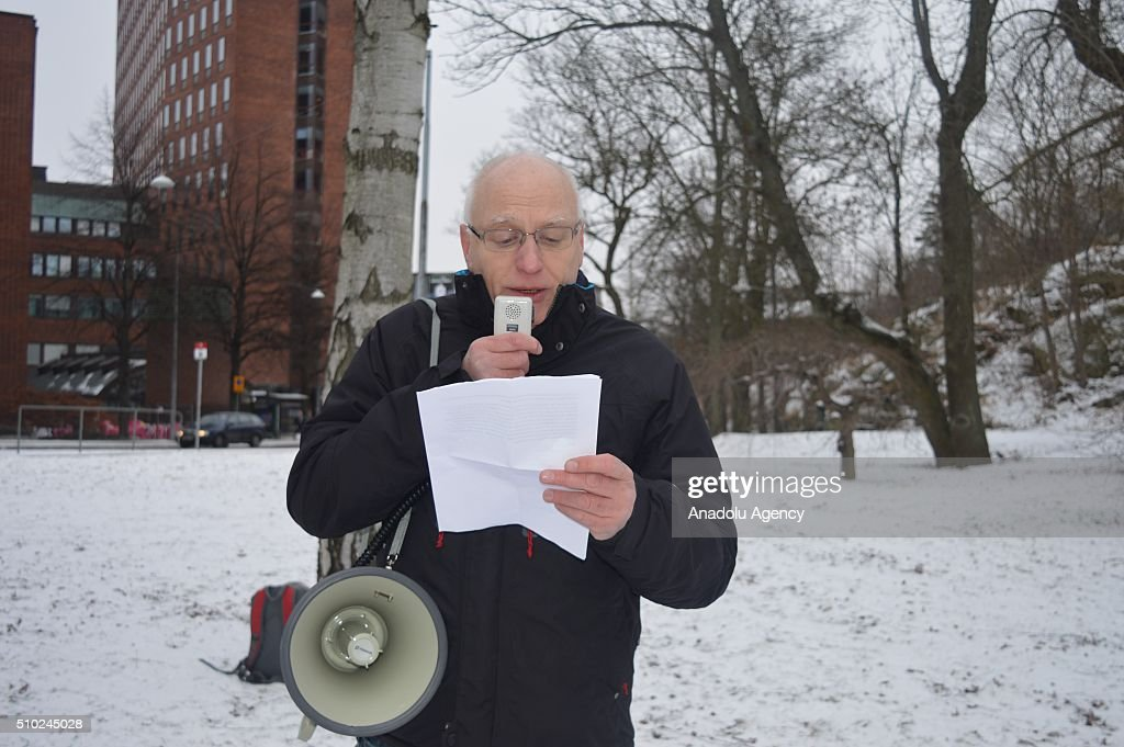 Vice president of Syrian Federation in Sweden Goran Gustafsson makes a statement to the press during a protest, organized by Syrian Federation in Sweden and Conservative Social Democratic Union of Sweden, against Russian President Vladimir Putin and Assad Regime, in front of Russian Embassy in Stockholm, Sweden in February 14, 2016.