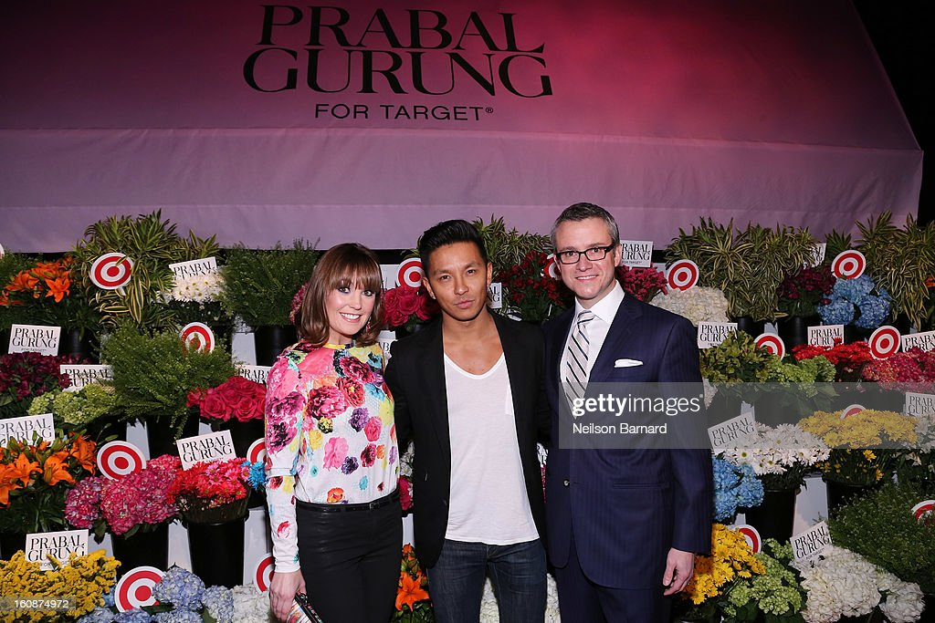 Vice President of Target communications Dustee Jenkins, designer Prabal Gurung, Target Executive Vice President and Chief Marketing Officer Jeff Jones attend the Prabal Gurung for Target launch event on February 6, 2013 in New York City.