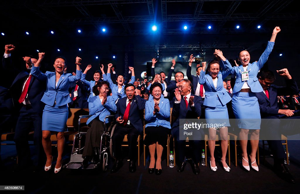 Vice president of the Beijing 2022 Olympic Winter Games Bid Committee Zhang Haidi, Mayor of Beijing Wang Anshun, China's Vice Premier <a gi-track='captionPersonalityLinkClicked' href=/galleries/search?phrase=Liu+Yandong&family=editorial&specificpeople=4375362 ng-click='$event.stopPropagation()'>Liu Yandong</a>, President of the Chinese Olympic Committee Liu Peng and members of the of the Beijing 2022 Olympic Winter Games Bid Committee celebrate after Beijing, China was announced as the host city for the 2022 Winter Olympics during the Announcement Ceremony at the 128th IOC Session at the Kuala Lumpur Convention Centre on July 31, 2015 in Kuala Lumpur, Malaysia.