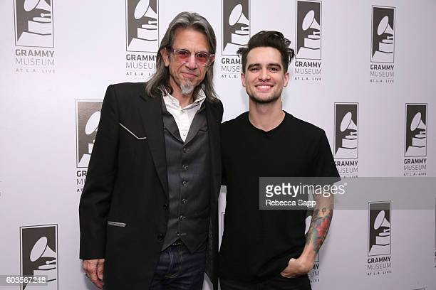 Vice President of the GRAMMY Foundation Scott Goldman and Brendon Urie of Panic at the Disco attend An Evening With Panic At The Disco at The GRAMMY...