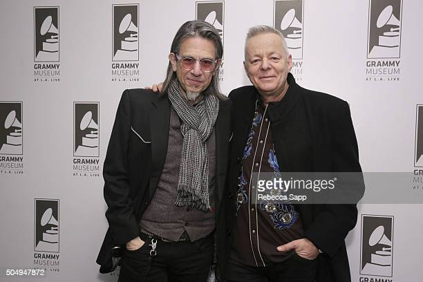 Vice President of the GRAMMY Foundation Scott Goldman and guitarist Tommy Emmanuel attend Great Guitars Tommy Emmanuel at The GRAMMY Museum on...