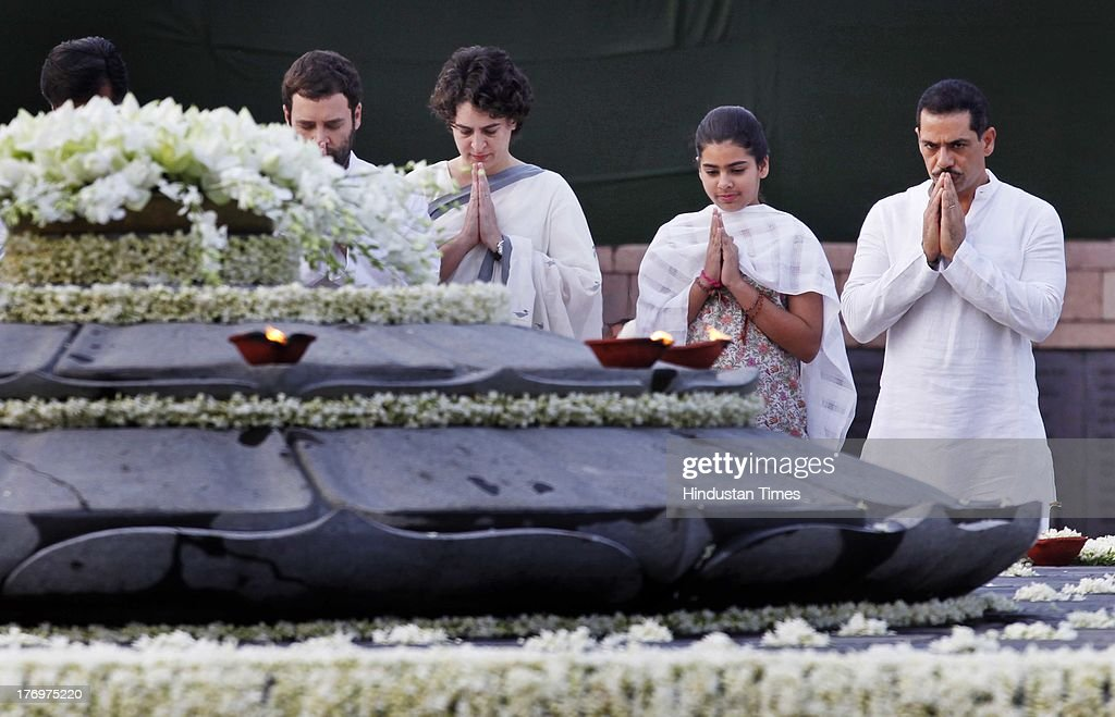 Vice President of the Indian National Congress Rahul Gandhi (L), and Priyanka Vadra (2L) along with her daughter Miraya Vadra (2R) and husband Robert Vadra pay tribute to former Indian Prime Minister Rajiv Gandhi on his birth anniversary at his memorial on August 20, 2013 in New Delhi, India. Rajiv Gandhi, who heralded the information and communication technology revolution in the country, was born on August 20, 1944 and served as the sixth Prime Minister of India from 1984-1989. He was assassinated by the LTTE on May 21, 1991 at Sriperumbudur in Tamil Nadu while addressing an election campaign.