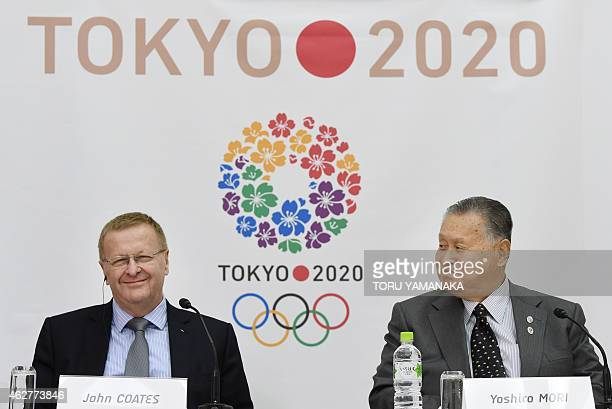 Vice President of the International Olympic Committee John Coates shares a light moment with President of the Tokyo 2020 Organising Committee Yoshiro...