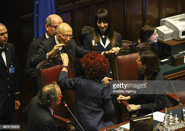 Vice president of the Senate of the Republic of Italy Valeria Fedeli and the President of the Chamber of Deputies of Italy Laura Boldrini talk to...