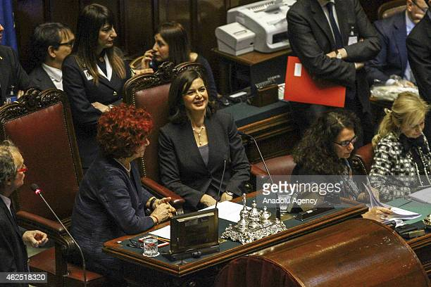 Vice president of the Senate of the Republic of Italy Valeria Fedeli speaks with the President of the Chamber of Deputies of Italy Laura Boldrini...