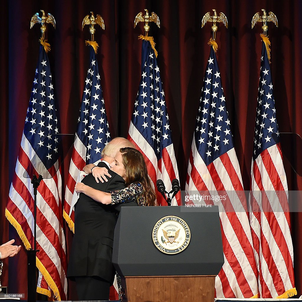 Vice President of the United States, event honoree Joe Biden receives a hug from daughter Ashley Bidenon stage during the 75th Annual Father Of The Year Awards Luncheon at New York Marriott Marquis Hotel on June 14, 2016 in New York City.