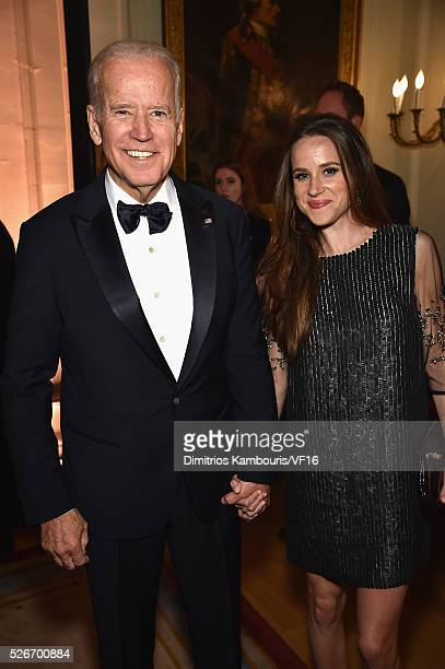 Vice President of the United States Joe Biden and Ashley Biden attend the Bloomberg Vanity Fair cocktail reception following the 2015 WHCA Dinner at...
