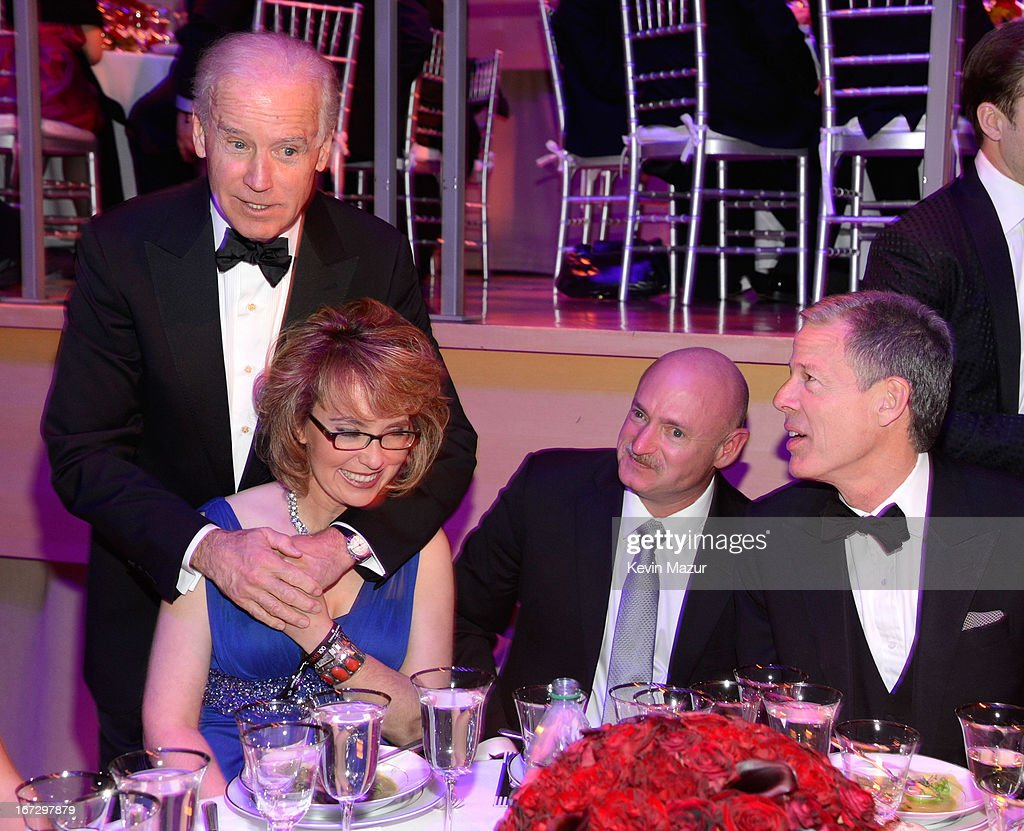 Vice President of The United States Joe Biden and Gabrielle Giffords attend the TIME 100 Gala, TIME'S 100 Most Influential People In The World at Jazz at Lincoln Center on April 23, 2013 in New York City.