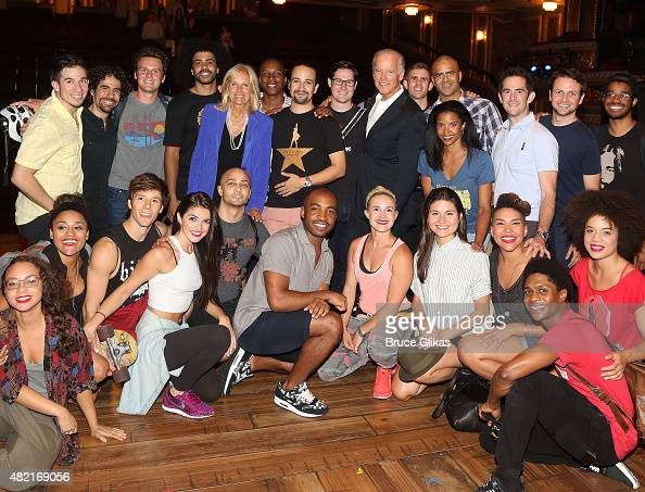 Vice President of the United States Joe Biden and wife Jill Biden visit the cast of the hit new musical 'Hamilton' on Broadway at The Richard Rogers...