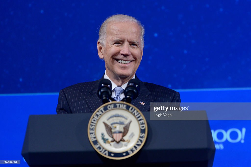 Vice President of the United States Joe Biden speaks on stage during the 2015 Concordia Summit at Grand Hyatt New York on October 1, 2015 in New York City.