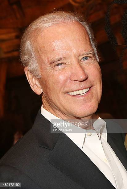 Vice President of the United States Joe Biden visits the cast of the hit new musical 'Hamilton' on Broadway at The Richard Rogers Theater on July 27...
