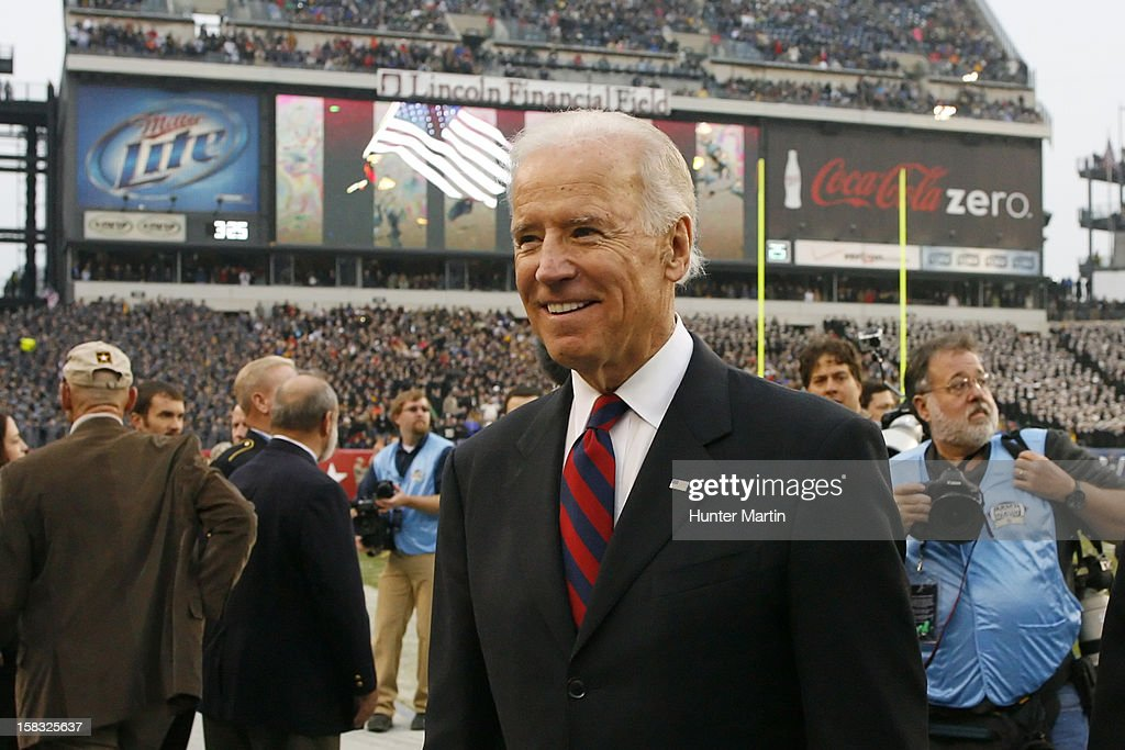 Vice President of the United States Joe Biden walks off of the field after the coin toss before a game between the Army Black Knights and the Navy Midshipmen on December 8, 2012 at Lincoln Financial Field in Philadelphia, Pennsylvania. The Navy won 17-13.